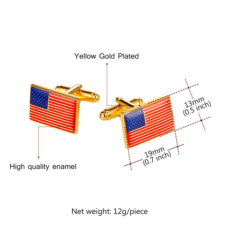 Mens Cufflinks National Flag Of The US 2017 Fashion Jewelry Groomsmen Gift Gold Color Business Suit Cuff Links Buttons C1001