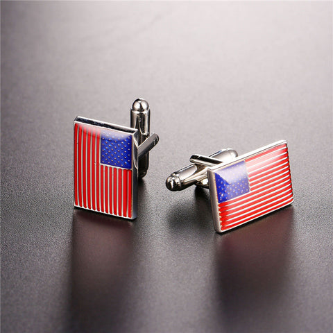 Image of Mens Cufflinks National Flag Of The US 2017 Fashion Jewelry Groomsmen Gift Gold Color Business Suit Cuff Links Buttons C1001