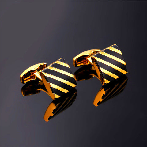 Image of Classic Black Square Cufflinks For Mens Fashion Gold Color Diagonal Stripe Cuff Button Men Suit Jewelry With Box C011
