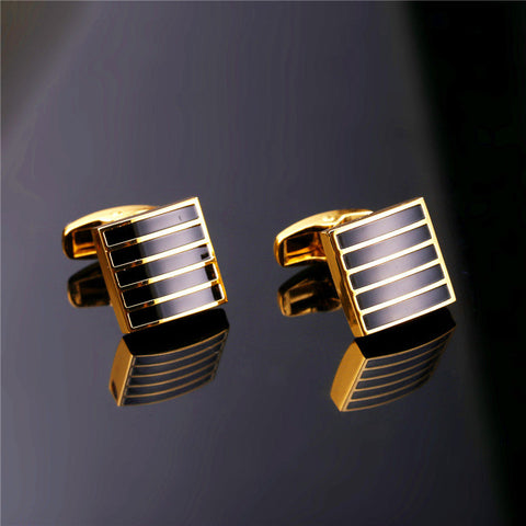 Image of New Classic Black Cufflinks For Mens Gold Color Suit Stripe Square Cuff Links Buttons Clip Men Jewelry Wholesale C008