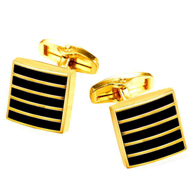 New Classic Black Cufflinks For Mens Gold Color Suit Stripe Square Cuff Links Buttons Clip Men Jewelry Wholesale C008