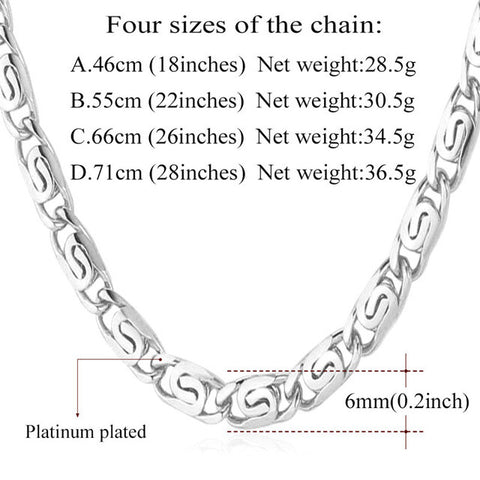 Gold Color Chain For Men Necklace Jewelry Wholesale Trendy Party Gift 6MM Width Vintage Snail Chain Necklace N394