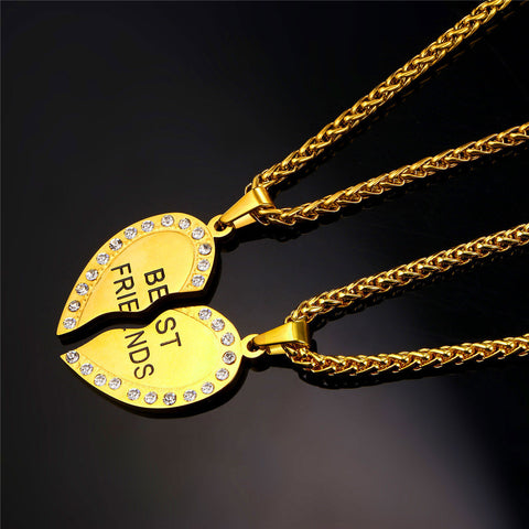 Image of Brand Heart Necklace Friendship Jewelry Friend Pendant & Chains Gold Color Stainless Steel Best Friend Couple Necklace P821
