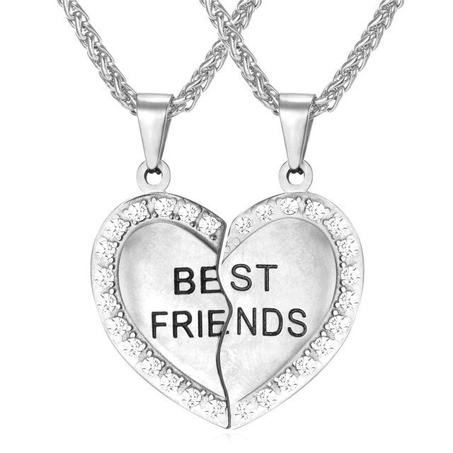 Brand Heart Necklace Friendship Jewelry Friend Pendant & Chains Gold Color Stainless Steel Best Friend Couple Necklace P821