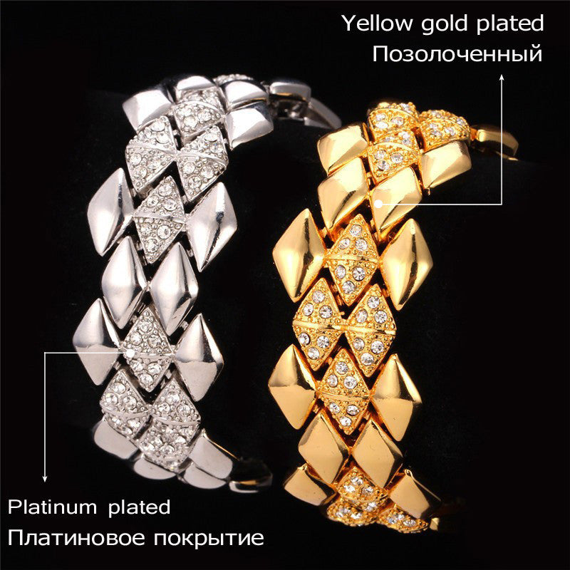 Big Bracelet Geometric Trendy Jewelry Wholesale Dubai Gold Color Rhinestone 21CM 25MM Bracelets & Bangles For Men/Women H541