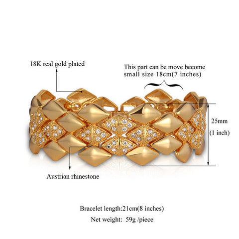 Image of Big Bracelet Geometric Trendy Jewelry Wholesale Dubai Gold Color Rhinestone 21CM 25MM Bracelets & Bangles For Men/Women H541