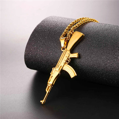 Image of Hip Hop Jewelry AK47 Assault Rifle Pattern Necklace Gold Color Stainless Steel Cool Fashion Pendant & Chain For Men P1046