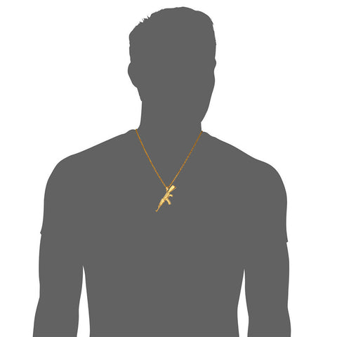Hip Hop Jewelry AK47 Assault Rifle Pattern Necklace Gold Color Stainless Steel Cool Fashion Pendant & Chain For Men P1046