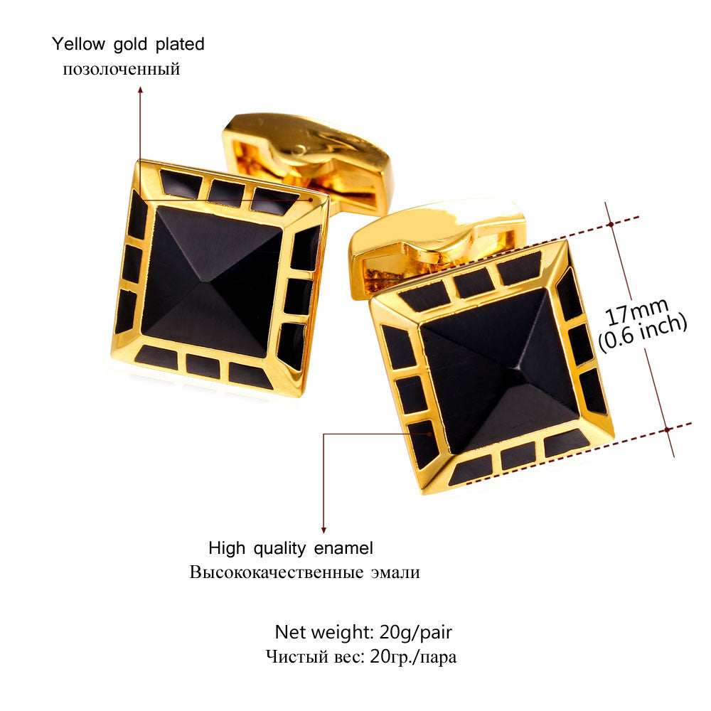 New Square Cufflinks Men Jewelry Classic Gold Color Men Suit Wedding Wholesale Black Cufflinks For Mens Gift C027