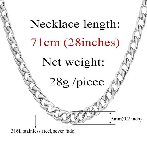 "Image of Cuban Gold Color Chain For Men Hip Hop Jewelry Wholesale 6MM 18"" 22"" 28"" Black Stainless Steel Curb Chain Necklace N396"