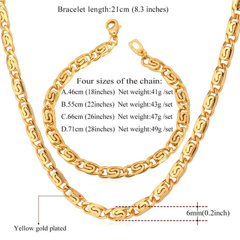 Image of Trendy Necklace Set Men Jewelry Wholesale Gold Color Snail Chain Necklace Bracelet African Jewelry Set S617