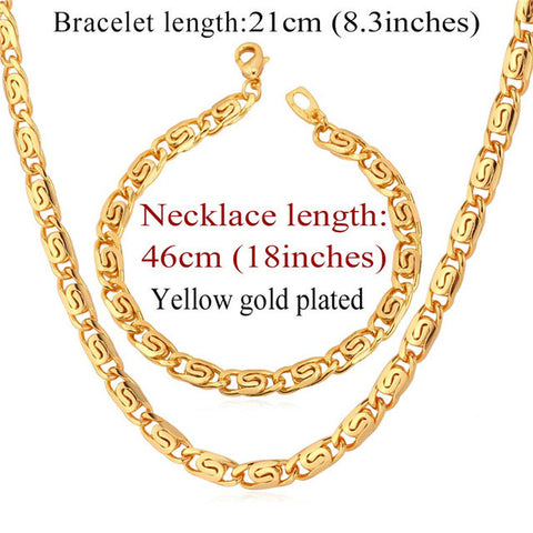 Trendy Necklace Set Men Jewelry Wholesale Gold Color Snail Chain Necklace Bracelet African Jewelry Set S617