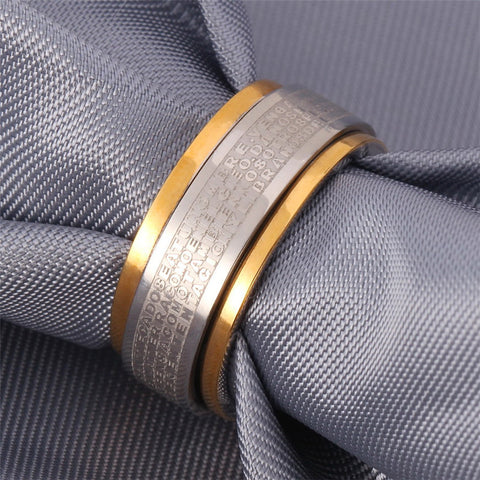 Image of Fashion 316L Stainless Steel Ring For Men Party Bible Verse Jewelry Gold Color Lord Of The Band Rings R333