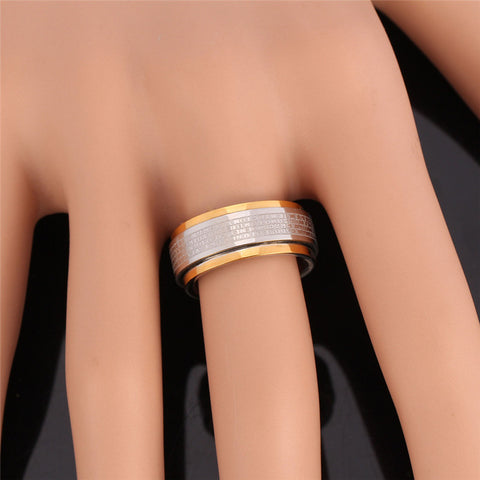 Fashion 316L Stainless Steel Ring For Men Party Bible Verse Jewelry Gold Color Lord Of The Band Rings R333