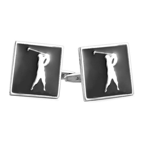 Image of New Sporty Cufflinks For Mens Enamel Fashion Jewelry Gold Color Cuff Links Golf Jewelry With Free Box C012