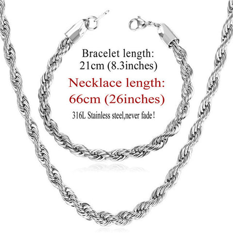 Image of New Trendy Rope Chain Necklace Set Wholesale Gold Color 3MM Width Chain Necklace Bracelet Men Jewelry Sets S837
