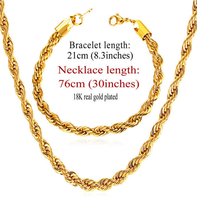 New Trendy Rope Chain Necklace Set Wholesale Gold Color 3MM Width Chain Necklace Bracelet Men Jewelry Sets S837