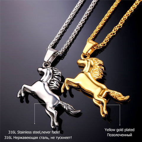 Image of Horse Necklaces & Pendants For Men/Women Hip Hop Jewelry Gold Color Stainless Steel Chain Animal Charm Necklace Sale P753