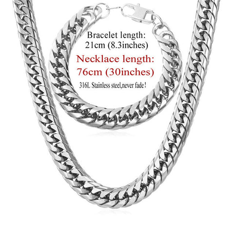 Image of Stainless Steel statement Necklace And Bracelet Set Wholesale Gold Color Hip Hop Chunky Big Chain For Men Jewelry Set S747