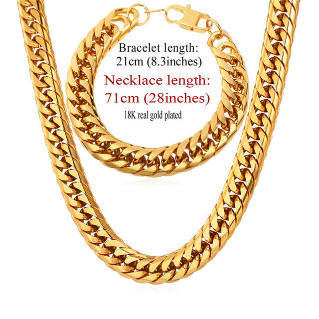 Stainless Steel statement Necklace And Bracelet Set Wholesale Gold Color Hip Hop Chunky Big Chain For Men Jewelry Set S747