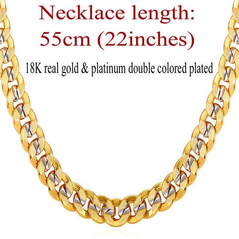 Two Tone Gold Color Chain For Men Hip Hop Jewelry 9MM Choker/Long Chunky Big Curb Cuban Link Biker Necklace Man Gift N552