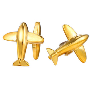 New Plane Cufflinks For Mens Fashion Jewelry Trendy Gold Color Men Suit Aircraft Style Cufflinks Box C021