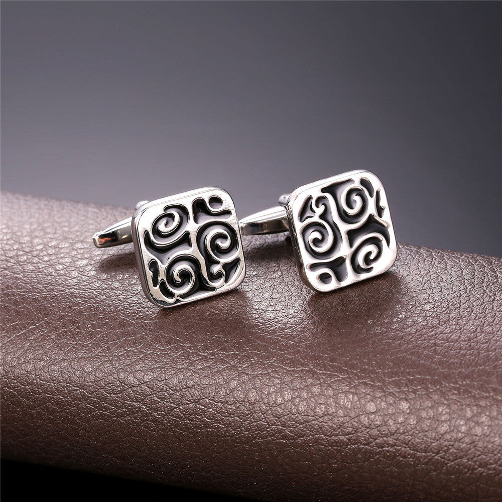 Mens Cufflinks Gold/Silver Color Lucky Business Classic Square Cuff Buttons Wholesale Vintage Cuff Links Men Jewelry C038