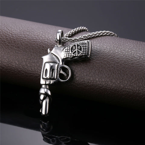 American Style Hip Hop Chain Men Women Pendant Necklace Gold Color Stainless Steel Vintage Roscoe Gun Necklace Jewelry P731