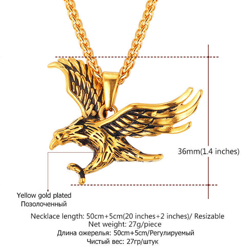 Image of Brand Eagle Necklace Statement Jewelry Sale Gold Color Stainless Steel Hawk Animal Charm Pendant & Chain For Men P748
