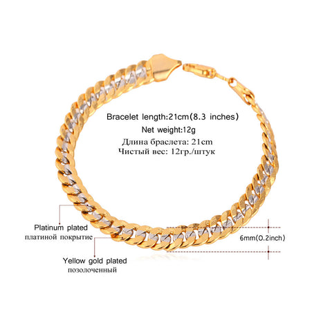 Image of Two Tone Gold Color Bracelet Men Jewelry Wholesale Trendy 6MM 21CM Cuban Chain Bracelets For Men/Women H594