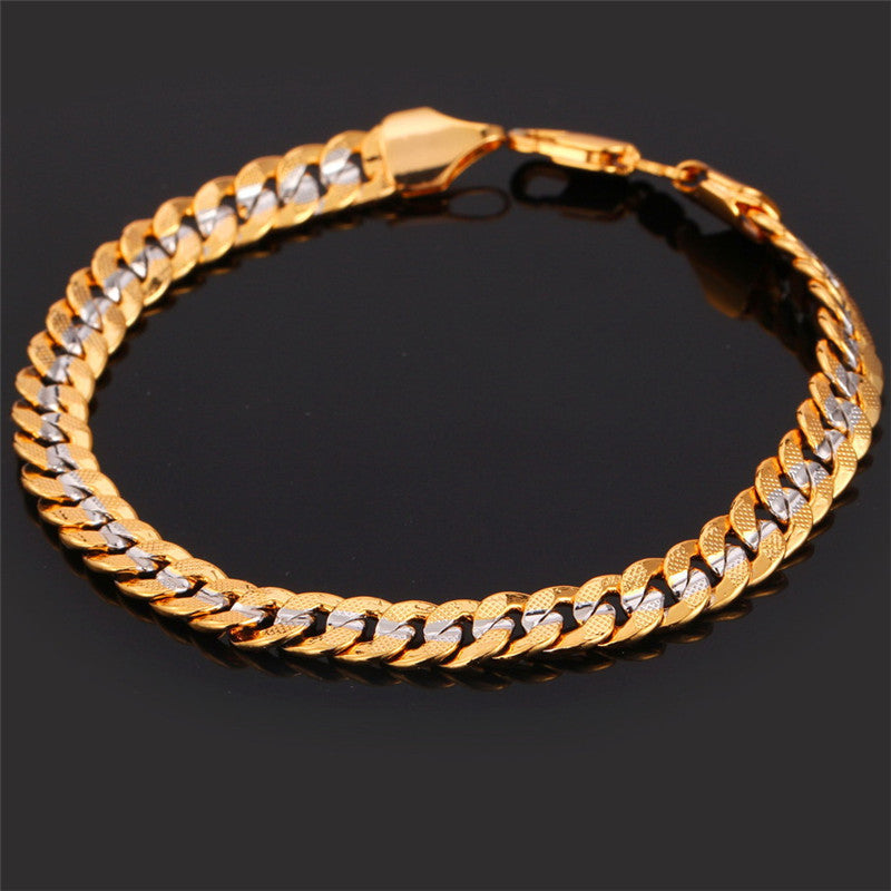 Two Tone Gold Color Bracelet Men Jewelry Wholesale Trendy 6MM 21CM Cuban Chain Bracelets For Men/Women H594