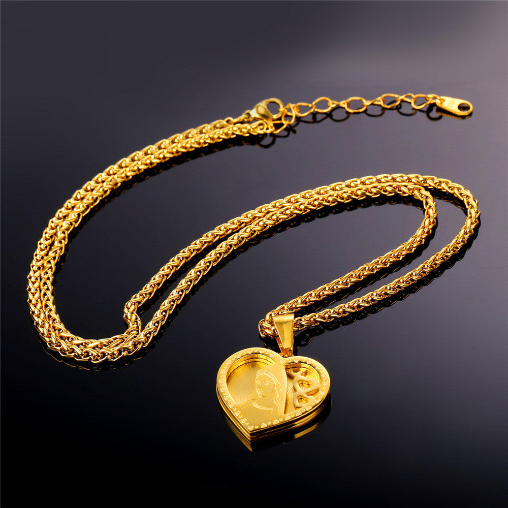 Brand Heart Necklace & Pendant For Women Gold Color Stainless Steel Catholic Religious Mother Virgin Mary Jewelry Gift P724