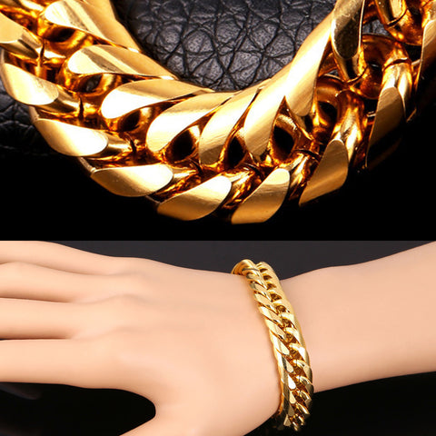 Big Stainless Steel Bracelet Men Jewelry Wholesale Gold Color 21CM 13 MM Thick Cuban Link Chain Mens Bracelets H772