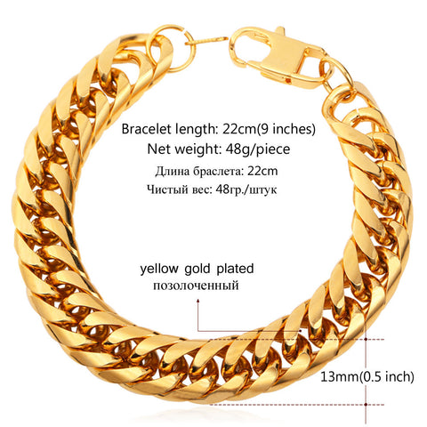 Image of Big Stainless Steel Bracelet Men Jewelry Wholesale Gold Color 21CM 13 MM Thick Cuban Link Chain Mens Bracelets H772