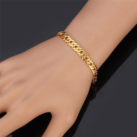 Image of Fashion Bracelet Men Jewelry Silver/Black/Yellow Gold/Rose Gold Color 5MM 21CM Trendy Venitien Chain Bracelet Wholesale H540