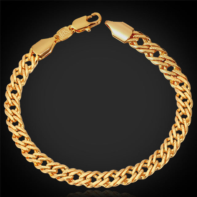 Fashion Bracelet Men Jewelry Silver/Black/Yellow Gold/Rose Gold Color 5MM 21CM Trendy Venitien Chain Bracelet Wholesale H540