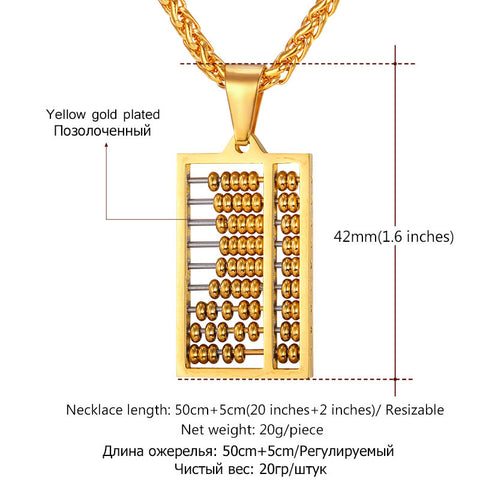 Abacus Necklace Gold Color Stainless Steel Ancient China Counting-frame Necklaces & Pendants For Men/Women Gift Jewelry P762