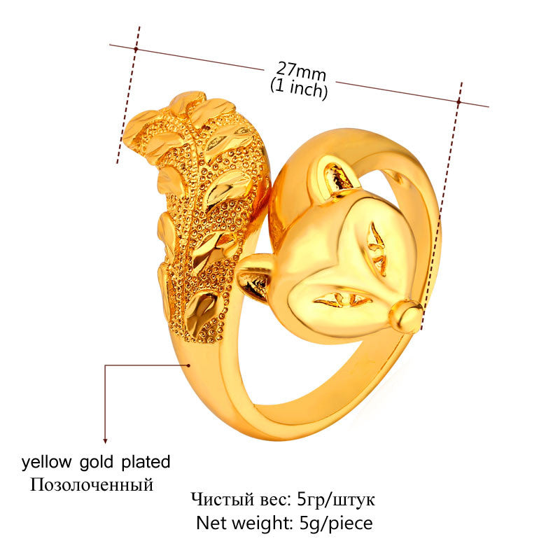 Fashion Animal Ring For Women Jewelry Gold/Silver Color Trendy Cool Party Fire Fox Ring Wholesale R437