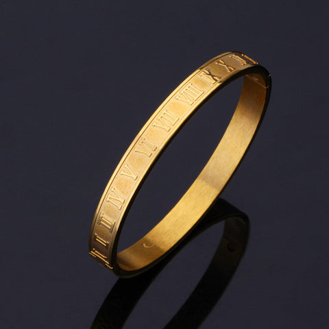 Image of Roman Numerals Vintage Bangle Gold/Silver Color 316L Stainless Steel Women Men Jewelry Bracelet Bangle Wholesale H478