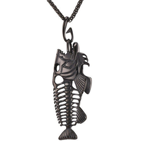 Hip hop chain for men big fish bone statement pendant necklaces gold image of hip hop chain for men big fish bone statement pendant necklaces gold color stainless aloadofball Image collections