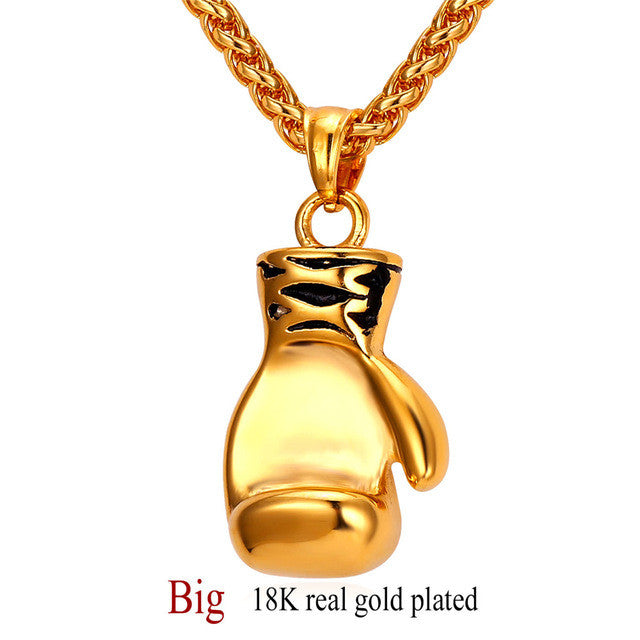 Boxing Glove Necklaces & Pendants Gold Color Stainless Steel Fitness Sport Men Jewelry Sale P905