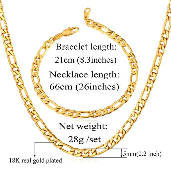 Men Jewelry Set Wholesale Black/Gold Color Stainless Steel 5MM Figaro Chain Necklace And Bracelet Set Gift Trendy S430