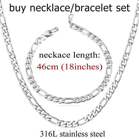 Image of Men Jewelry Set Wholesale Black/Gold Color Stainless Steel 5MM Figaro Chain Necklace And Bracelet Set Gift Trendy S430