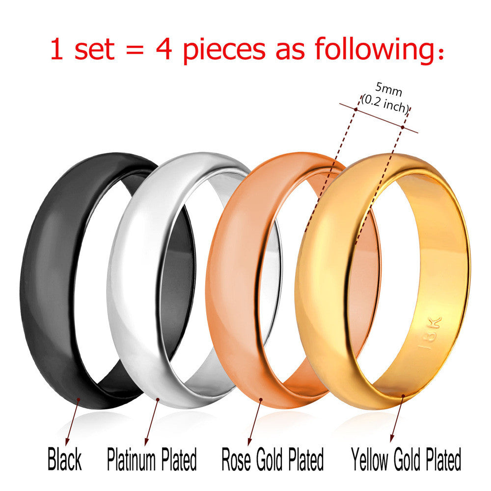 Wedding Band Rings Set For Men/Women Classic Jewelry 5MM Gold Color 4 PCS Rings Set & Gift Box 2016 New R443