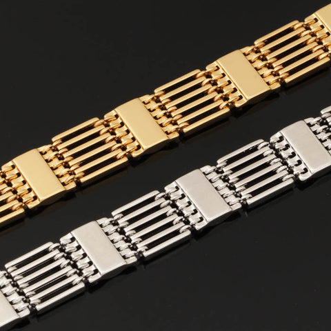 Image of Wide Bracelets New Trendy Men's Gift Gold/Silver Color Copper Chain Bracelet Men's Jewelry Wholesale H423