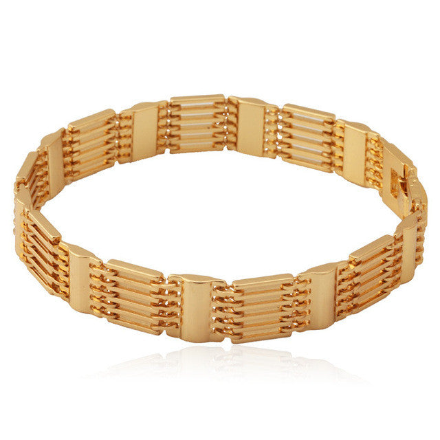Wide Bracelets New Trendy Men's Gift Gold/Silver Color Copper Chain Bracelet Men's Jewelry Wholesale H423