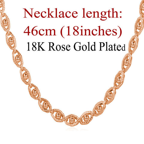 Image of Gold Color Jewelry Necklace Chain Wholesale Trendy 55 CM Beads Necklace Women /Men Jewelry N391