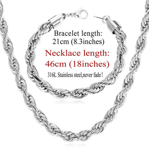 Image of Gold Color Chain Necklace Set Wholesale Trendy Stainless Steel 6MM Width Rope Chain Necklace Bracelet Men Jewelry Sets S838