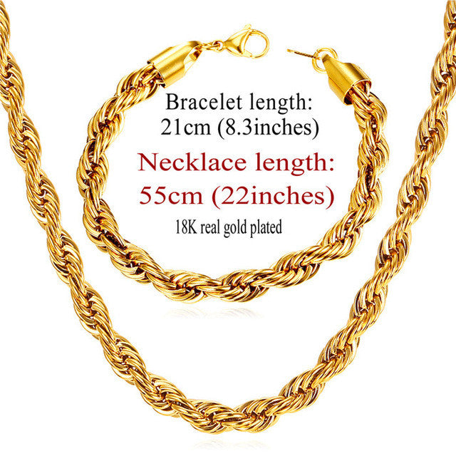 Gold Color Chain Necklace Set Wholesale Trendy Stainless Steel 6MM Width Rope Chain Necklace Bracelet Men Jewelry Sets S838