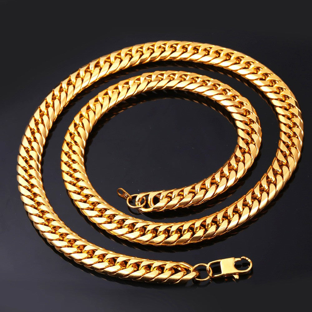 Hip Hop Chains For Men Jewelry Wholesale Yellow Gold Color Thick Stainless Steel Long Big Chunky Hippie Rock Necklace N453